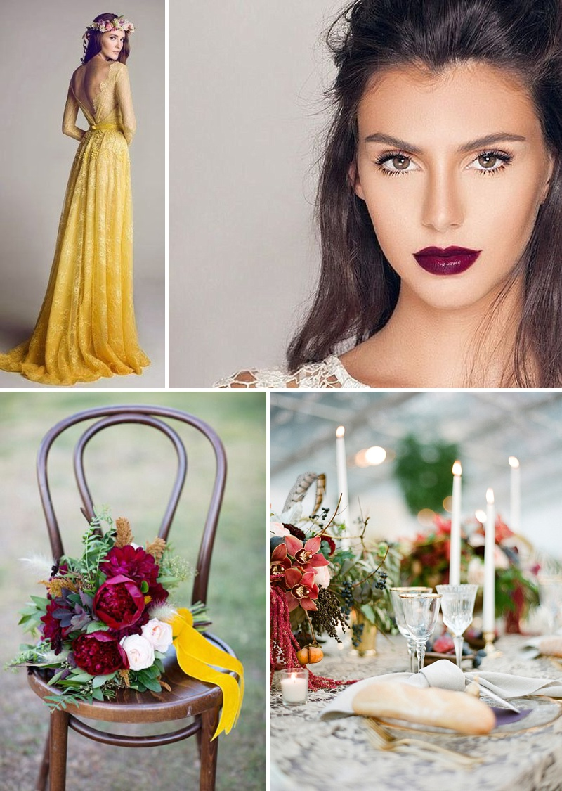 Mustard and Burgundy Autumn Wedding inspiration